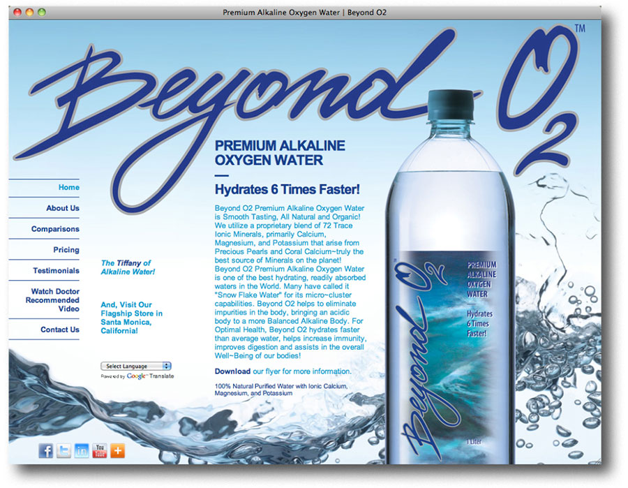 Beyond O2 Water Website