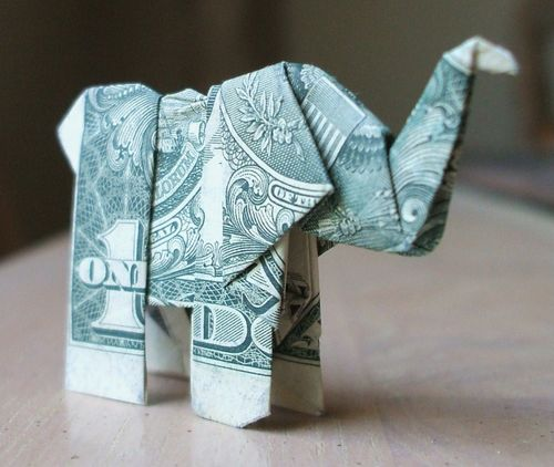 Elephant Origami from a $1 bill