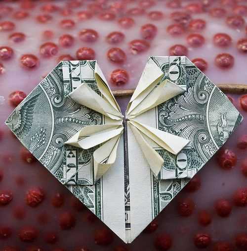 Heart Origami from a $1 bill