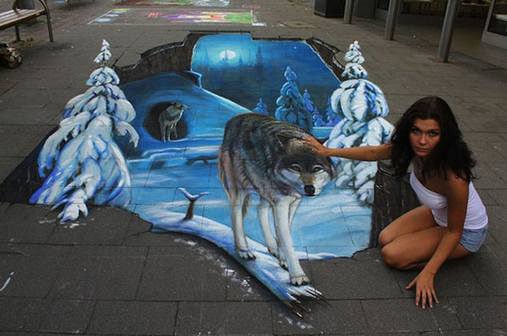 ... chalk art that when viewed from the correct prospective come to life